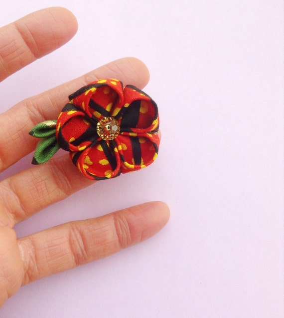 Men's Lapel Flower Pin: Red African Cotton Kanzashi Includes Shipping to US