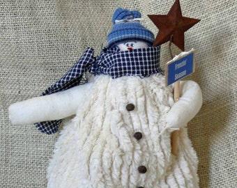 Small Fabric Snowman Blue Freezin Season