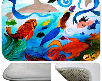 Tropical Fish and mermaid party plush non-skid floor mat  from my art