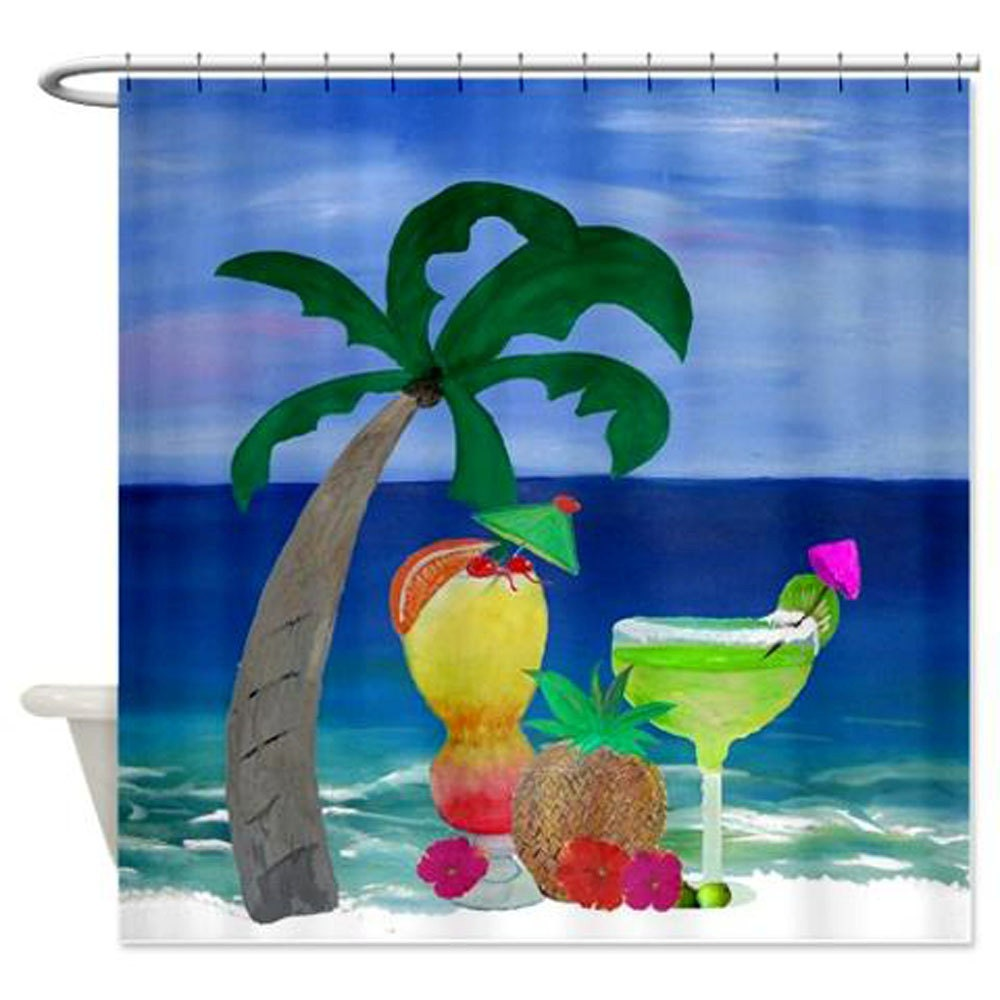 Tropical Drinks on the Beach Art Shower Curtain by maremade