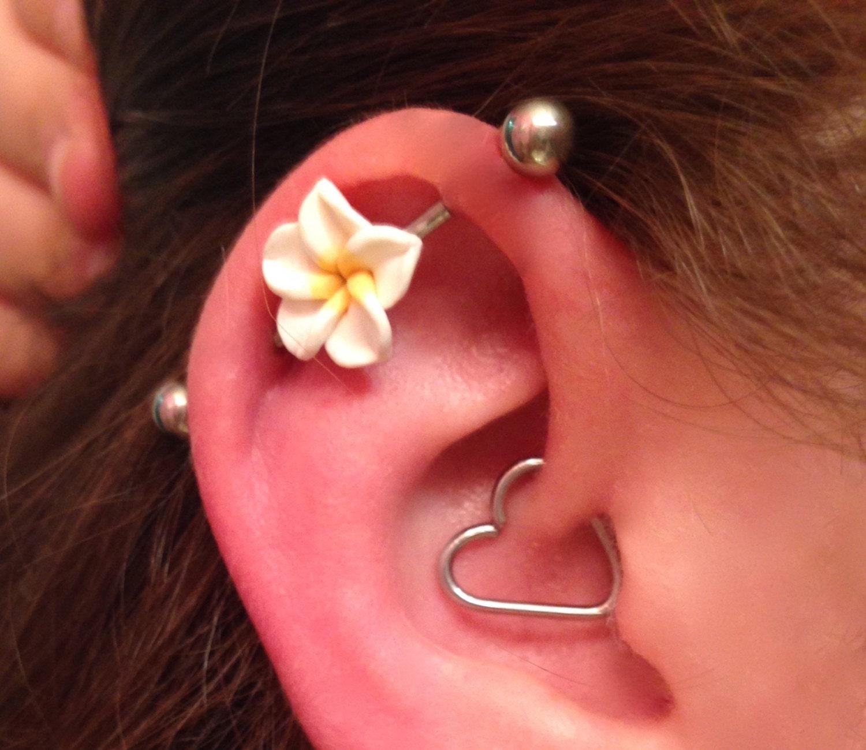 Industrial Barbell 14g 16g Earring Choose Your Flower Bar