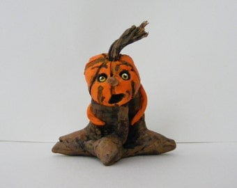 Creepy Folk Art Pumpkin Stem Halloween Pumpkin Art Doll OOAK
