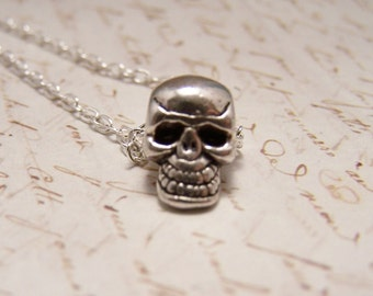 Floating Skull Necklace. Tiny. Simple. Delicate. Minimalist