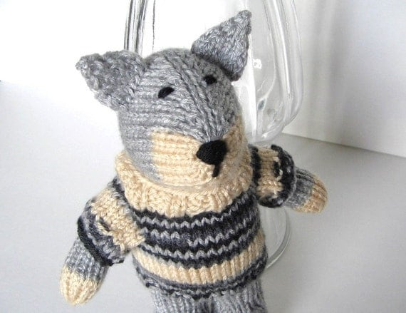 Hand Knit Wolf in Sweater Plush Doll Stuffed Animal Woodland