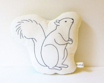 ORGANIC - Squirrel Shaped Pillow - Soft Toy - Hand Embroidered - Woodland Animals