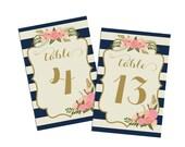 PRINTABLE Wedding Table Numbers 1-20  // Nautical Table Numbers // Stripe Floral // Modern // Vintage Table Numbers // INSTANT DOWNLOAD