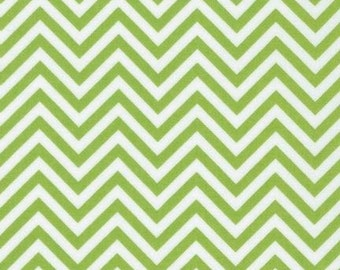 Robert Kaufman Fabric Remix Chevron Stripe Lime Green Ann Kelle