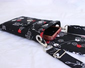 Cell phone purse - mobile phone bag -  small crossbody bag - cell phone pouch - zen blossom in black white and red MADE to ORDER