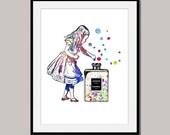 ALICE Alice's ADVENTURES in Wonderland art print poster designed for 10 x 8 inch watercolor wall decor digital Coco Chanel