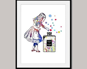 ALICE Alice's ADVENTURES in Wonderland art print poster designed for 10 x 8 inch watercolor wall decor digital Coco Chanel