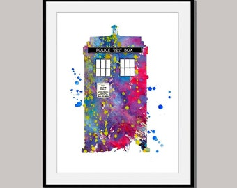 PHONE No 4 Doctor Who London Print Poster designed for 10 x 8 inch Watercolor Wall Decor ink Painting Giclee