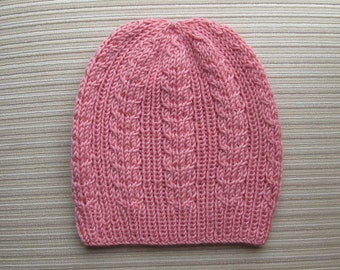 Knitting Pattern #178 Hat with Ribbing and Braids for a Lady