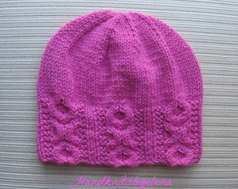 Instant Download #190 Knitting Pattern Hat XoXo in Size Adult