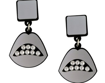 Sealed With a Kiss Acrylic Earrings in Silver