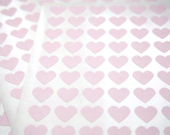 108 Pink Heart Stickers - FREE SHIPPING with other purchase