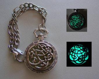 Glowing Celtic Riddle Knot Charm Bracelet ~ Glowing Charm Bracelet Bright Aqua Glow