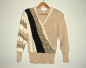 80s Vintage Sweater Bold Embellished Intarsia Patchwork Color Block Stripes Beige Black Acrylic Angora size M