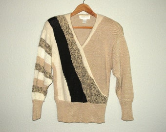 80s Vintage Sweater Bold Embellished Intarsia Patchwork Color Block Stripes Beige Black Acrylic Angora size M