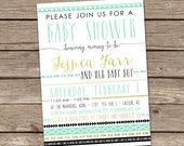 Baby Shower Invitation : Printable Custom Boy Aztec Tribal Invite