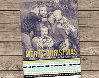 Photo Christmas Card : Merry Christmas Modern Tribal Aztec Custom Photo Holiday Card Printable