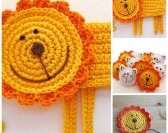Crochet Lion Pattern - Crochet Coaster Pattern - Crochet Animal Pattern - Crochet Lion Applique - Jungle Animal Pattern - Kids Room Decor