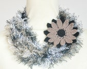 Puffy Rope - Daisy - Black - Handknitted Long Narrow Scarf wz Crochet Flower