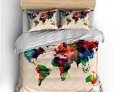 Watercolor World Map Custom Bedding- Toddler, Tw, Qu or Ki and Shams