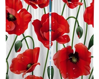 Custom Window Curtain, Designer Red Poppies - Any Size -Shown two color options - Any Pattern