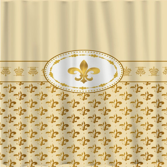 Items similar to exclusive le fleur de lis shower curtain beige and gold effect - Fleur de lis shower curtains ...