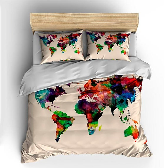 Watercolor World Map Custom Bedding Toddler Tw Qu or Ki and
