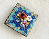 Large Vintage Italian Micro Mosaic Brooch pin for repurpose or harvest from late Victorian-Edwardian Era, circa 1900s