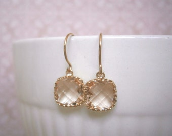 Petite Blush Earrings, Blush Champagne, Gold Earrings, Simple, Everyday Jewelry