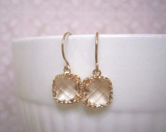 Petite Blush Earrings, Blush Champagne, Gold Earrings, Best Friend Gift, Wife Gift, Christmas gift