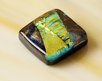 Handmade Dichroic Fused Glass Focal Cab Bead Pendant Necklace