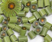 SEAGRASS - Murrini chips - avocado sage green bright orange - SRA Handmade for Glass Artists by CCGlassArt - coe 104 - millefiore