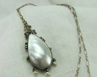 Circa 1910 Fine Silver Mother of Pearl and Marcasite Necklace