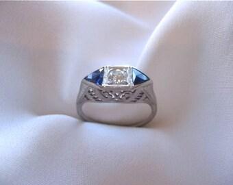 SALE Circa 1920 .25 carat Old European cut Diamond and Sapphire Ring