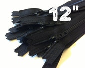 12 Inch black YKK zippers, Ten pcs, YKK color 580, dress, skirt, pouch, all purpose zippers