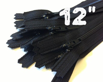 12 Inch black YKK zippers, Ten pcs, YKK color 580, dress, skirt, pouch, all purpose zippers