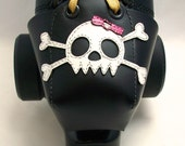 Leather Toe Guards with White Skulls, Crossbows and Pink Bows