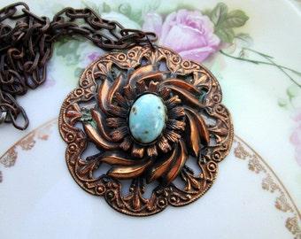 Antique Art Deco HUGE Copper Medallion Pendant Statement Necklace Confetti Turquoise Glass
