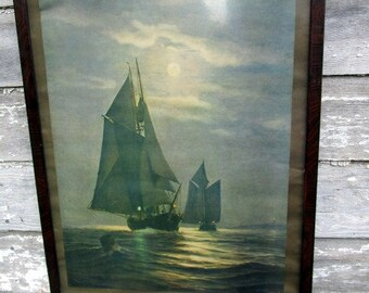 Antique 1908 Lithograph Passing Ships in the Night Tiger Wood Frame