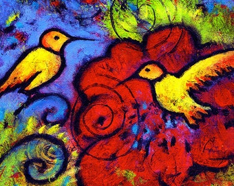 """Whimsical Art, Gallery Wrapped Canvas Print Hummingbird Art 8"""" x 8"""" - Living in Peace By The River"""
