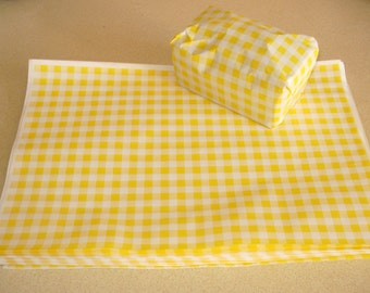 "Yellow Gingham Food Safe Wrapping Paper 25 sheets 10"" x 15"""