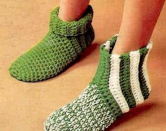 INSTANT DOWNLOAD PDF Vintage Crochet Pattern   Slipper Socks Boots