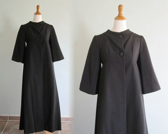 Vintage 1940s Coat - Dramatic Black Silk Faille Evening Coat with Gold Silk Lining - 40s Black Opera Coat S M