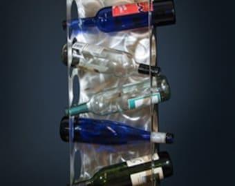 Five 5 bottle Stainless Steel Wine Rack Metal Bottle Display