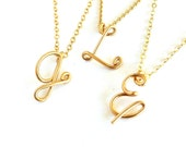 14k Solid Gold Initial Pendant. Custom Personalized Solid Gold Initial Necklace.