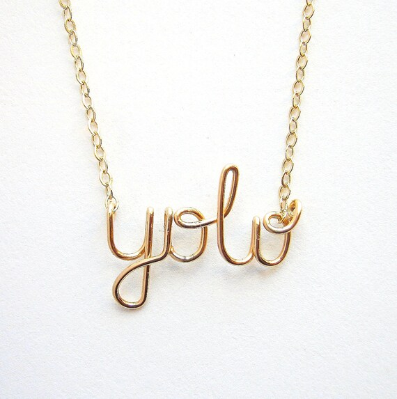 Gold YOLO Necklace. SALE Yolo- You Only Live Once Necklace