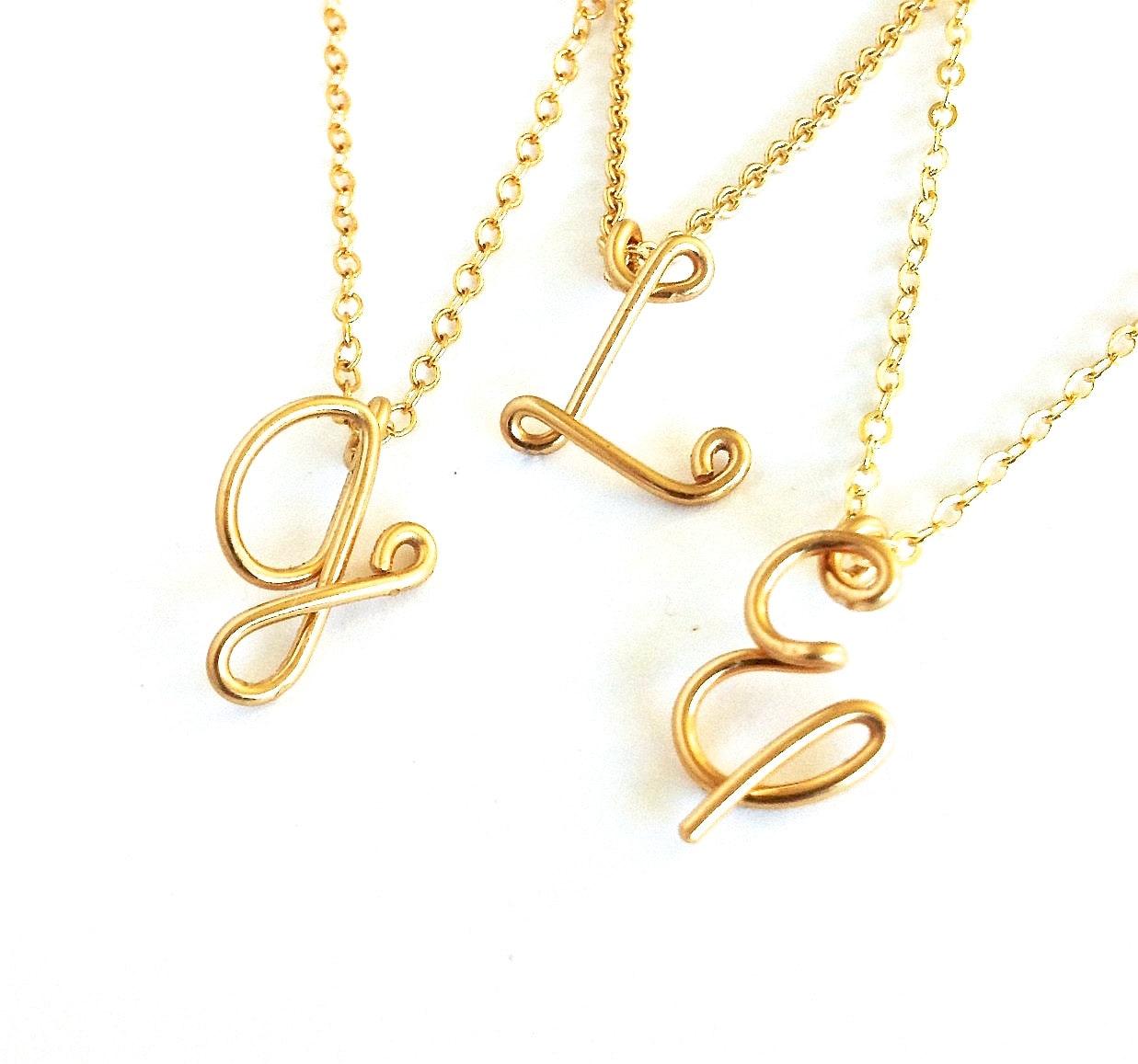 gold initial pendant custom gold initial necklace. Black Bedroom Furniture Sets. Home Design Ideas